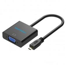 Мультимедиа конвертер Vention micro HDMI > VGA + аудио, гибкий