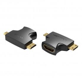 Адаптер-переходник Vention HDMI 19F/Mini HDMI+Micro HDMI