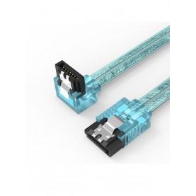 Кабель Vention SATA 3 M/SATA 3 M угол 90 с защелками, голубой