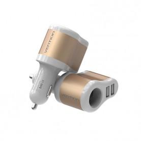 Адаптер питания автомобильный Vention 3.1A-2xUSB AF + разветвитель