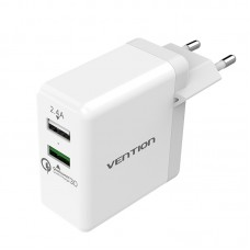 Сетевое зарядное устройство Vention на 2 USB порта Quick Charge 3.0