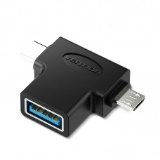 Адаптер переходник Vention OTG USB 3.0 AF/Type C+micro B 5pin