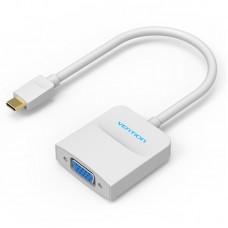 Мультимедиа конвертер Vention USB Type C M/VGA 15F, белый