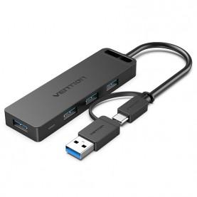 Концентратор Vention OTG USB-C+USB 3.0 / 4xUSB 3.0 порта Черный - 0.15м.