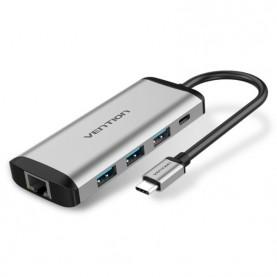 Сетевой адаптер Vention USB-C M/ Gigabit Ethernet RJ45 F/OTG хаб 3xUSB 3.0/PD